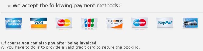 sedan service payment methods